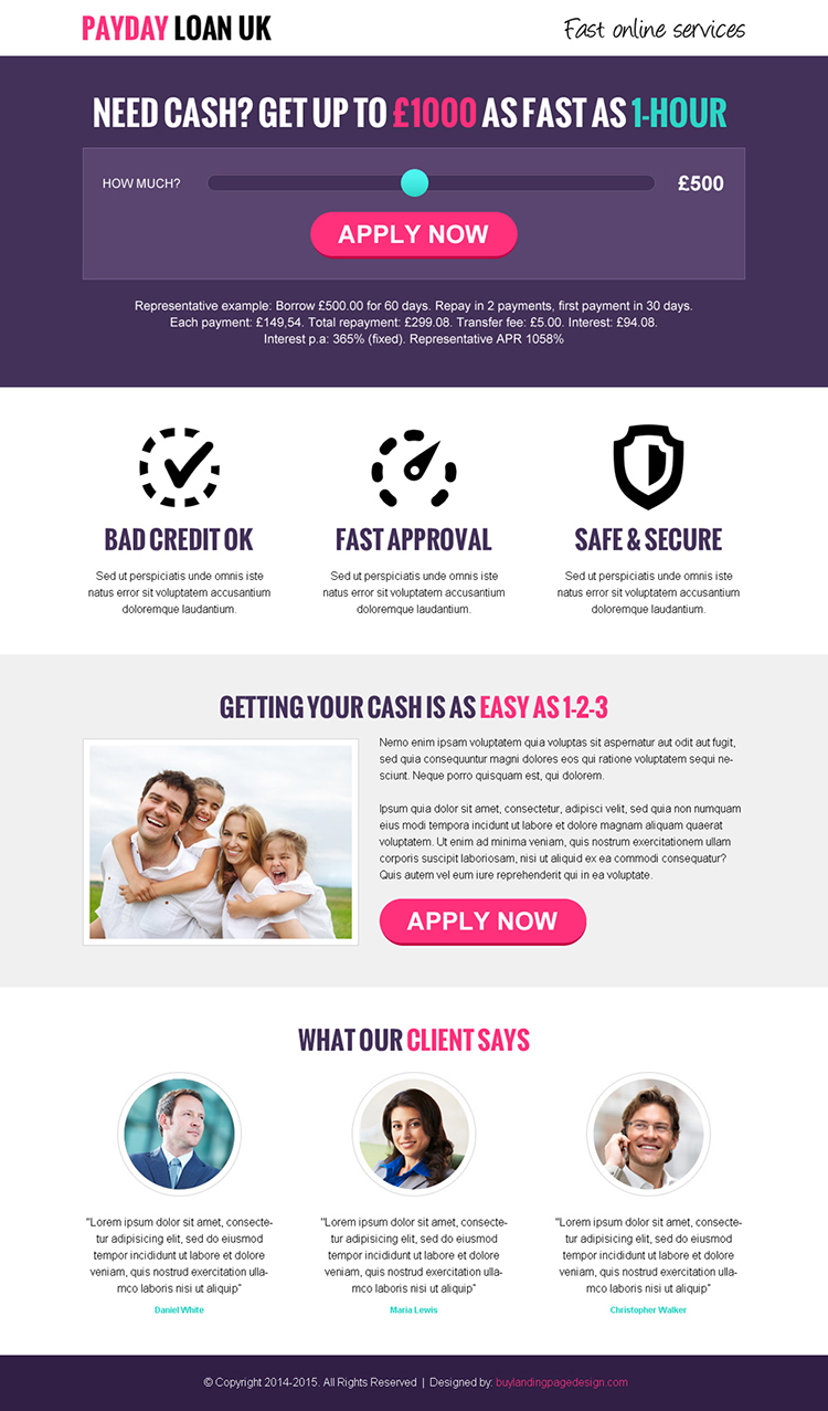 payday loan uk single slider conversion centered responsive landing page design