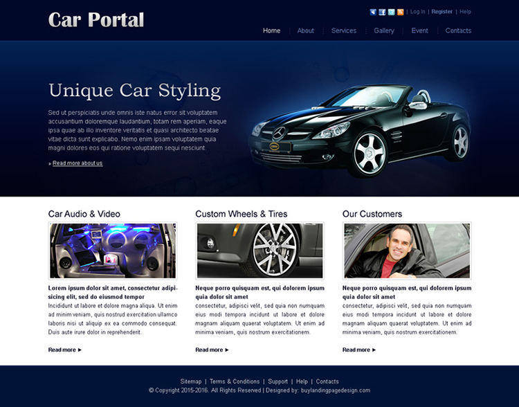 unique car styling website template design psd for sale