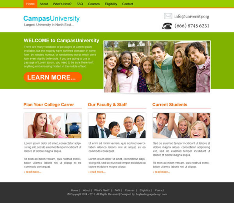 university campus attractive and converting website template design psd
