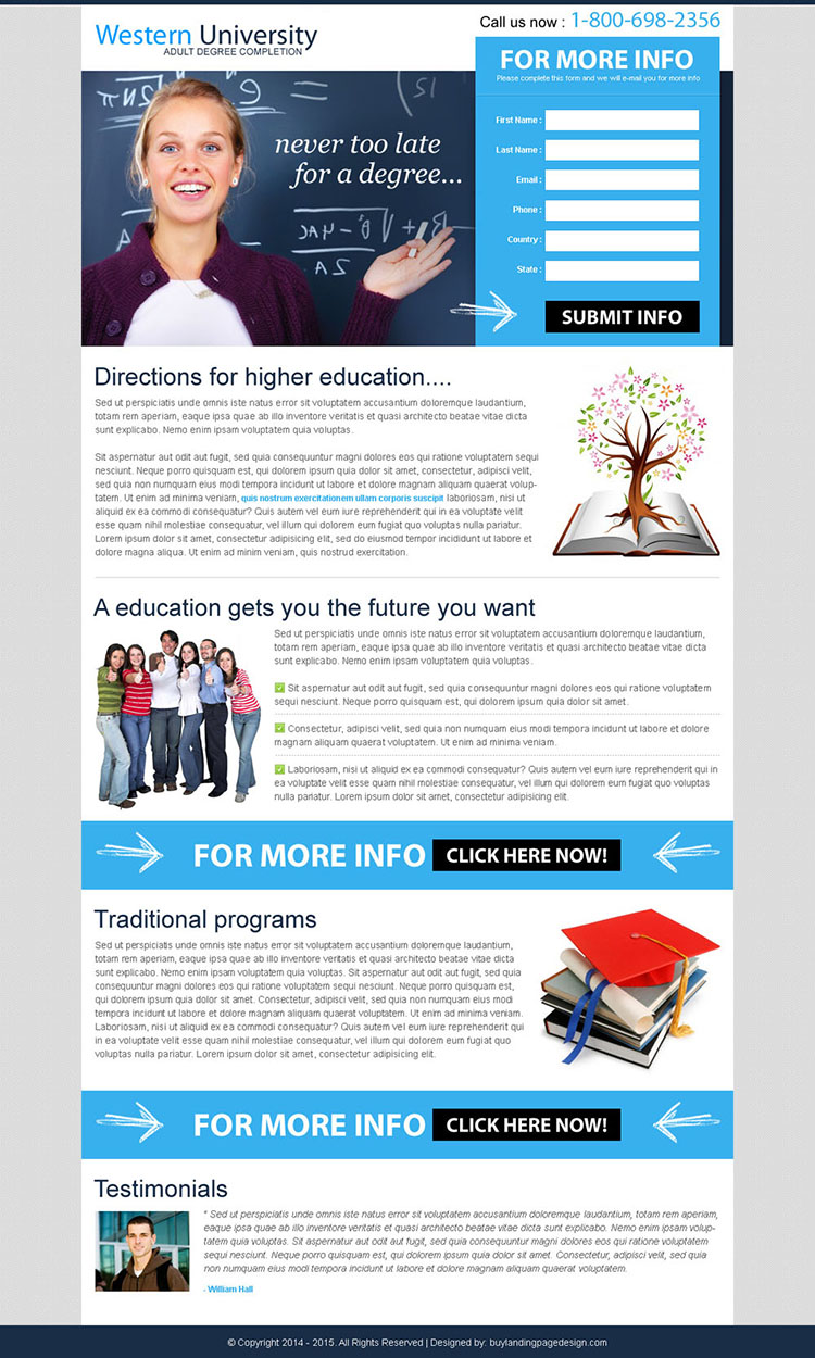never too late for a degree lead capture effective landing page