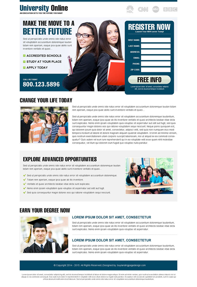 most appealing and converting lead gen landing page for education to get you higher conversion