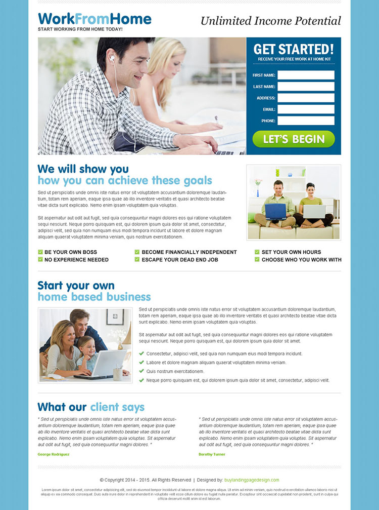 unlimited income by doing work from home opportunity lead capture landing page design template