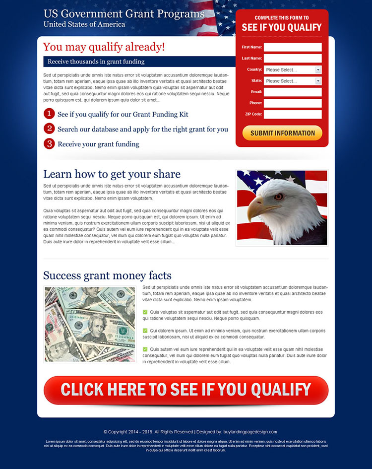 us government grant program user friendly and optimized landing page design