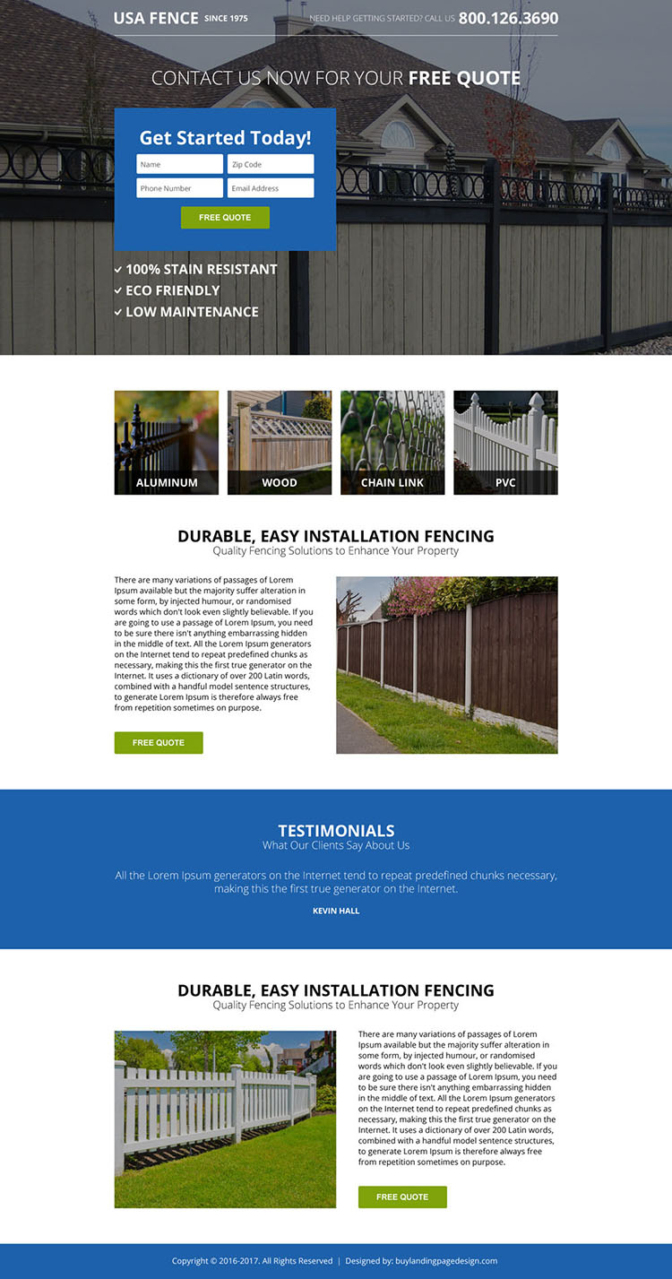 minimal fencing solution responsive landing page design
