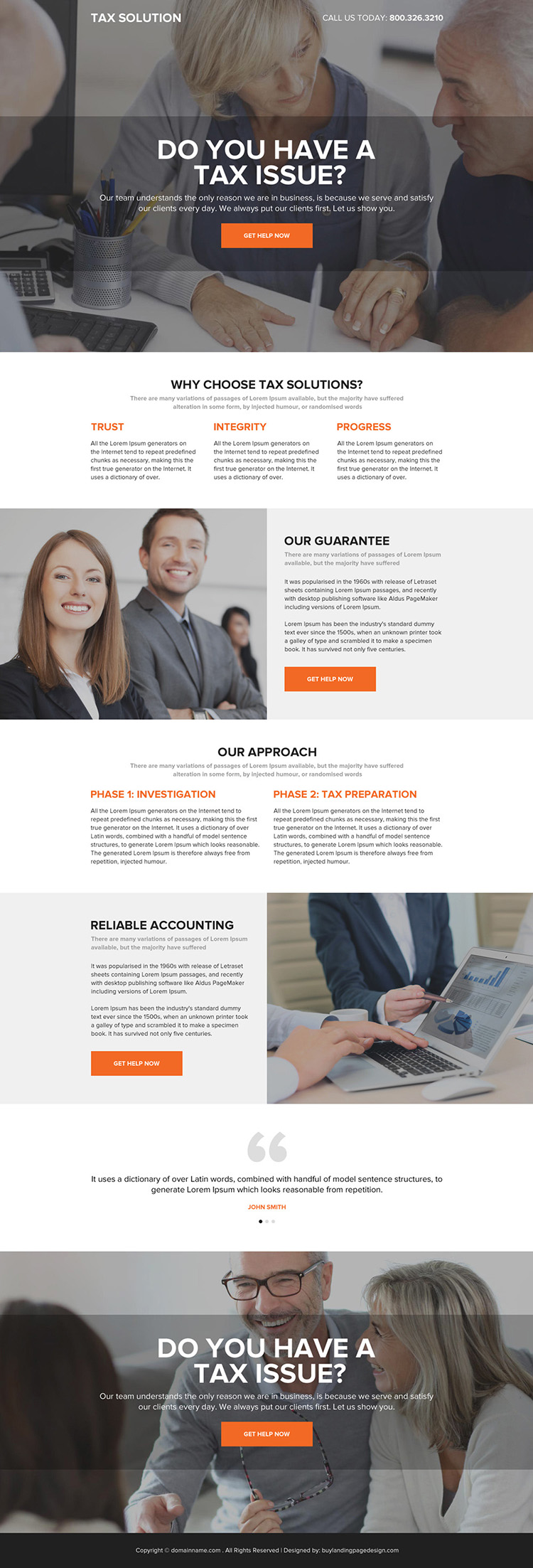 professional tax solutions responsive landing page design