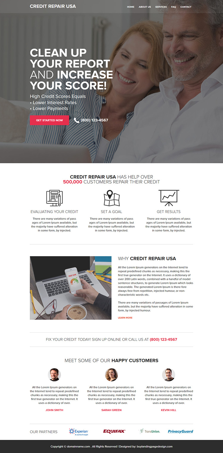 responsive credit repair lead capturing website design