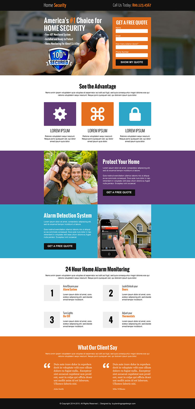 home security free quote lead capture responsive landing page design