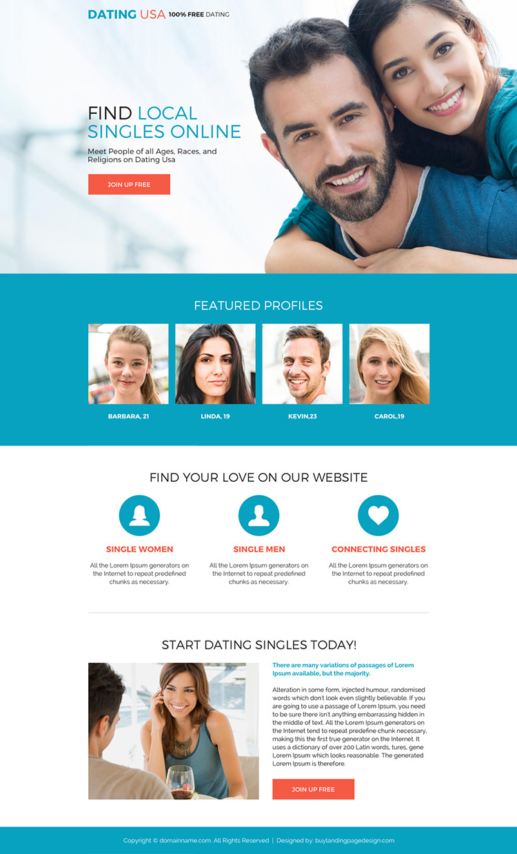 free dating sign up capturing responsive landing page design
