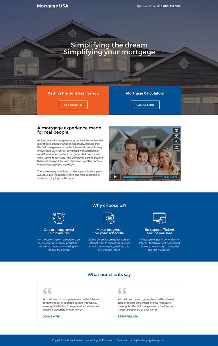 responsive usa mortgage deals landing page design