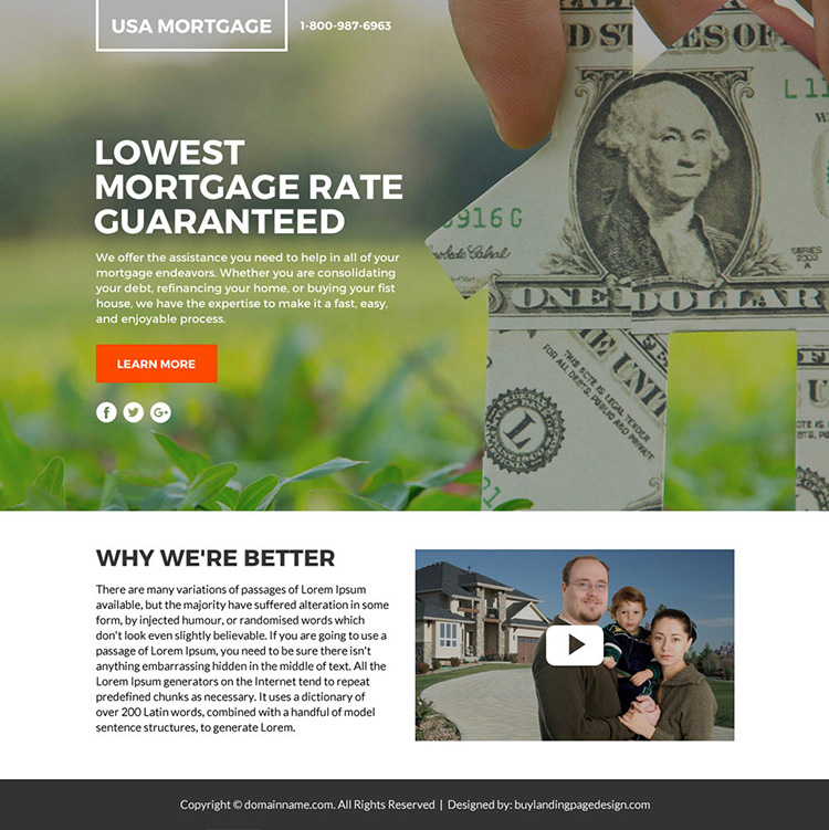 lowest mortgage rates lead funnel responsive landing page design