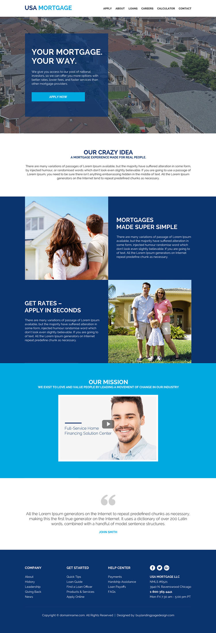mortgage refinance company website design