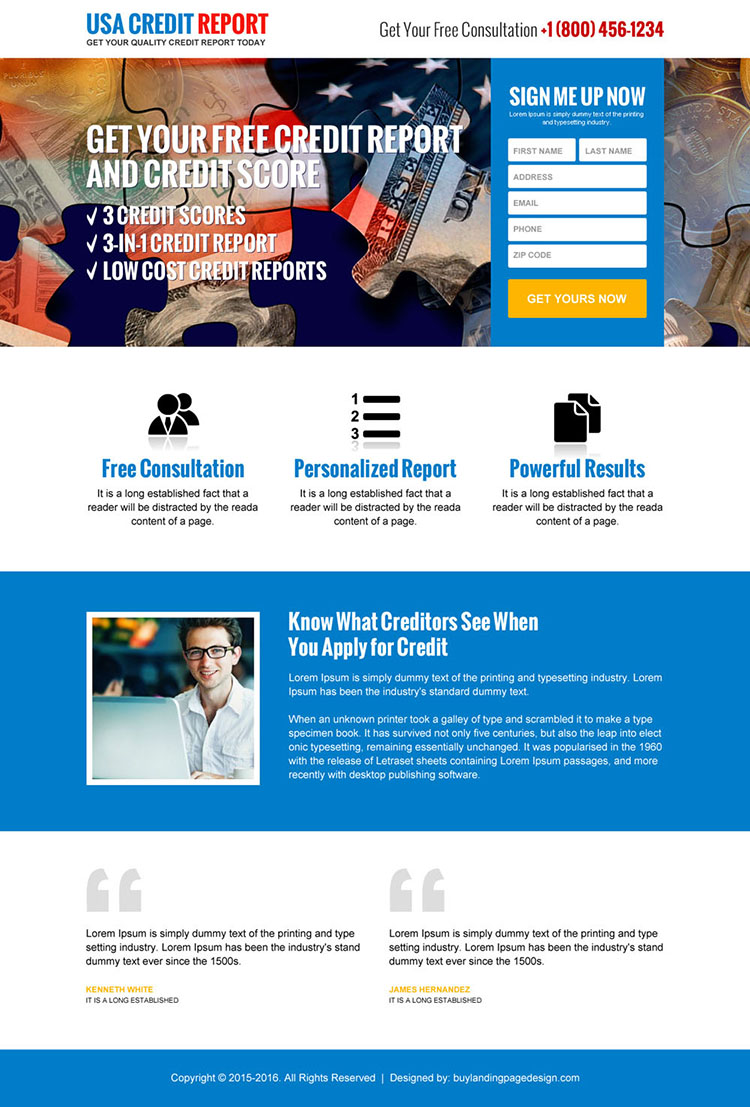 responsive quality credit report sign up capturing landing page