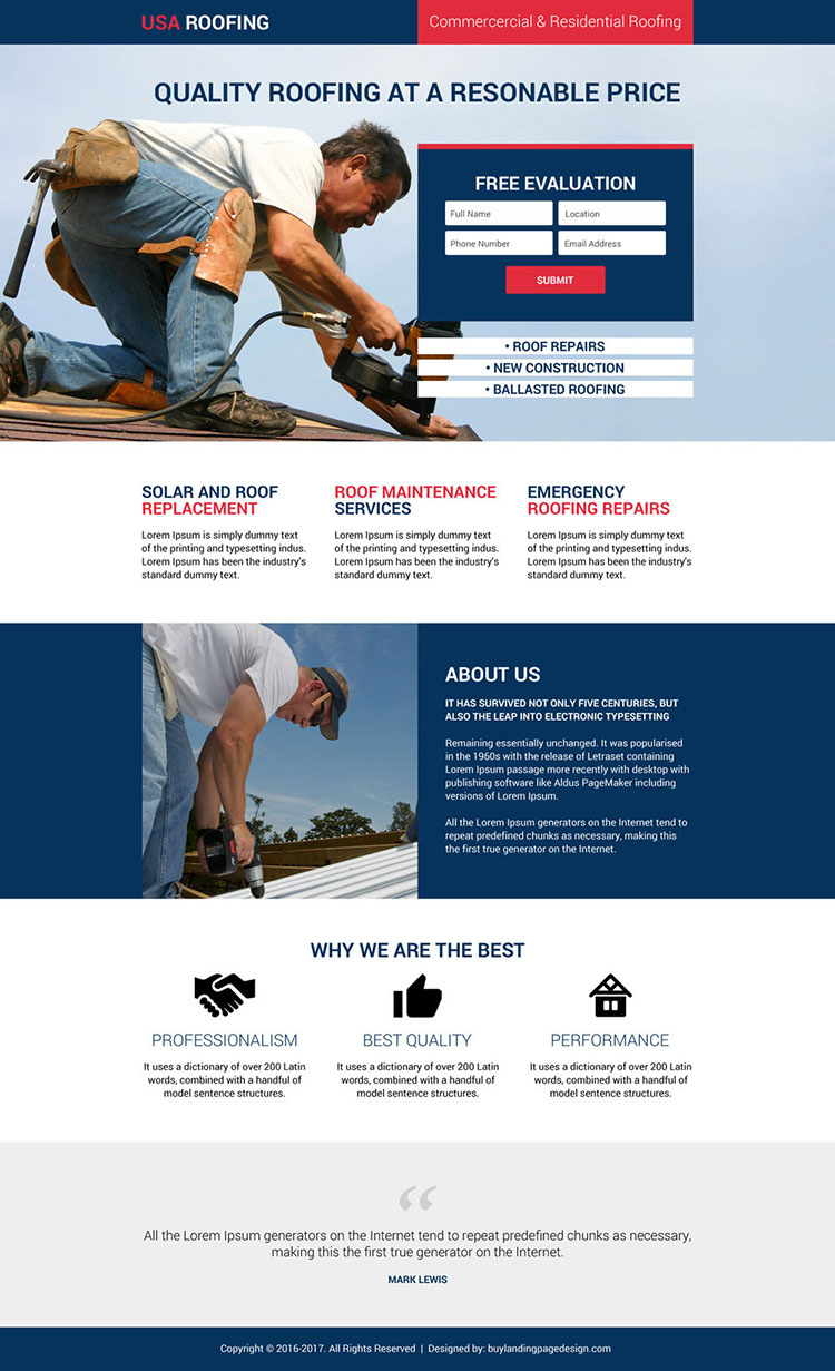 responsive usa roofing and construction landing page design