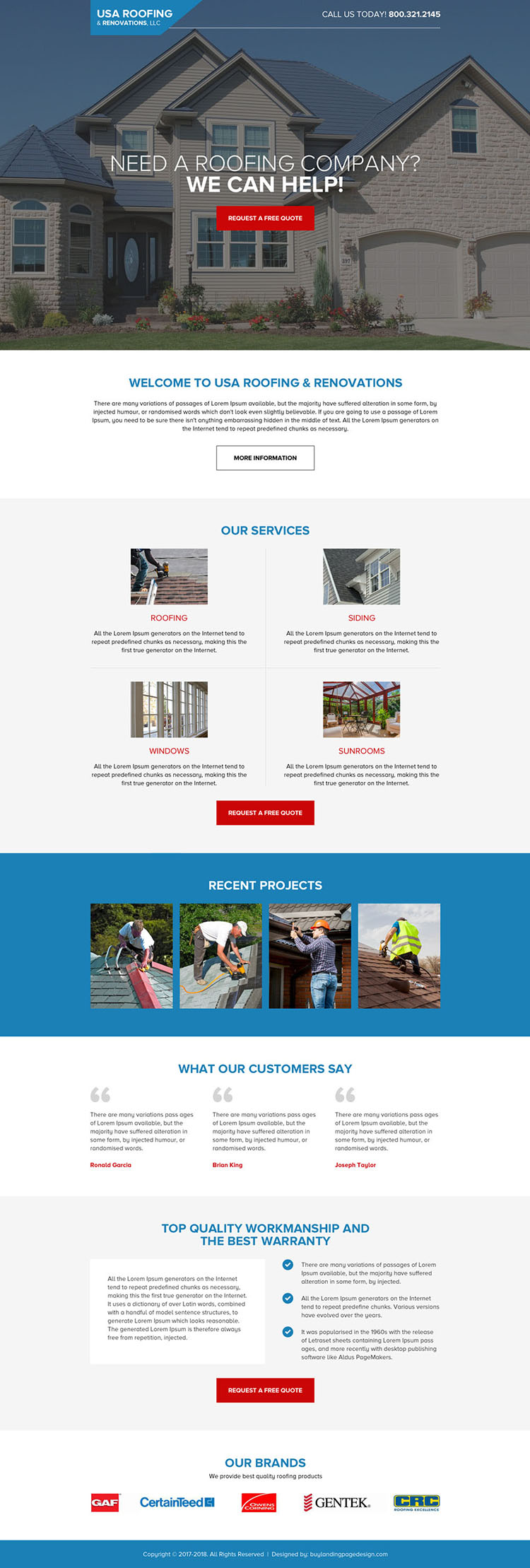 USA roofing and renovations modern long landing page design
