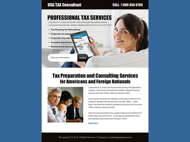 usa tax consultant lead gen ppv landing page design template