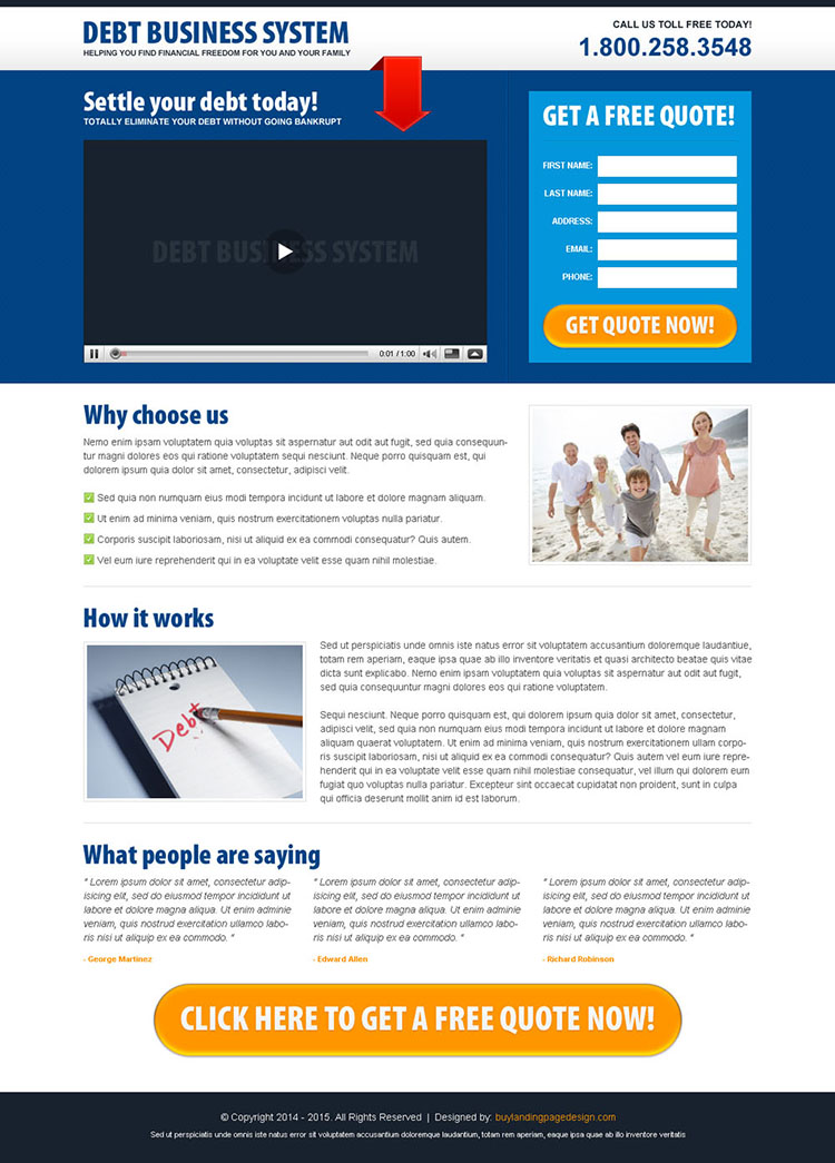 Video landing page design for debt business system