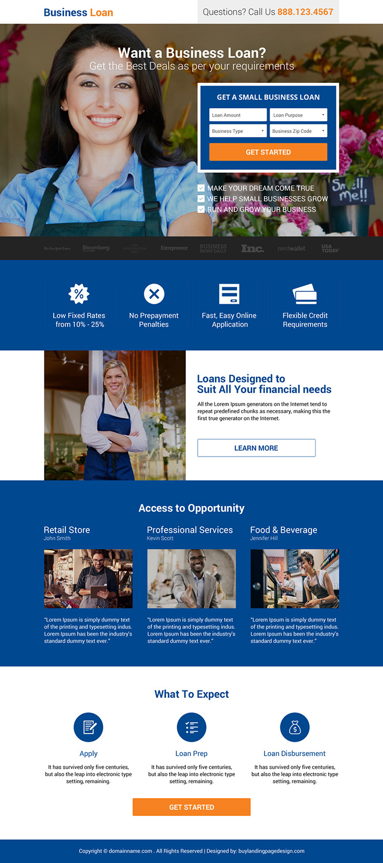 small business loan lead generating responsive landing page
