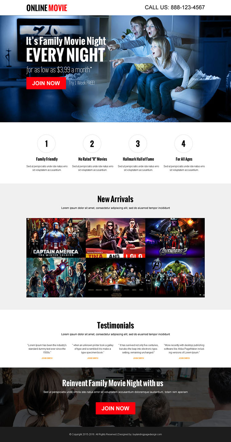 watch movies online call to action converting landing page design