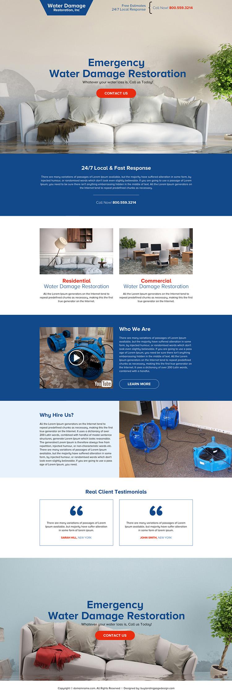 water damage restoration service responsive landing page