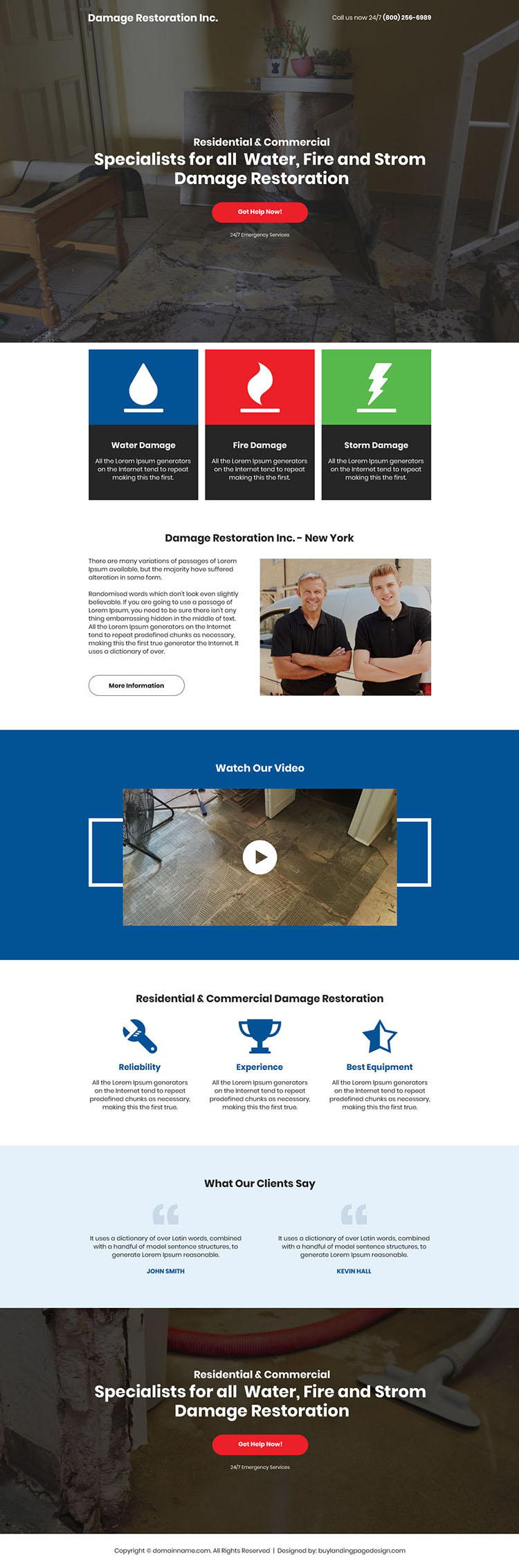 water fire storm damage restoration responsive landing page