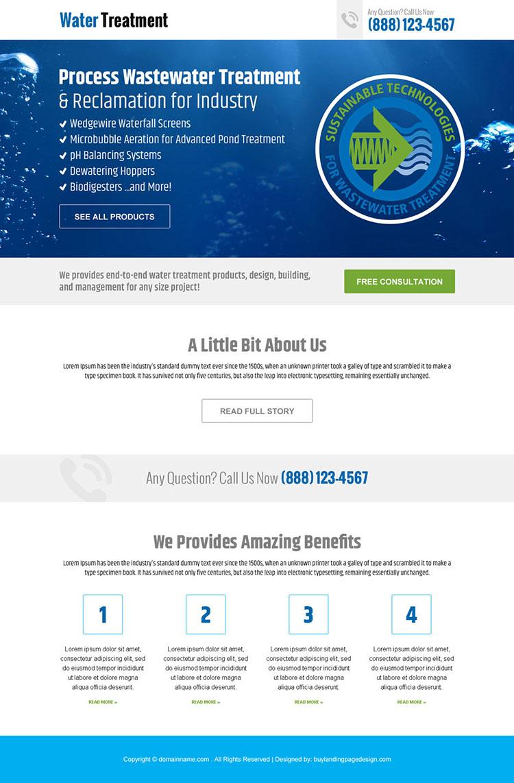 water treatment plan responsive landing page design