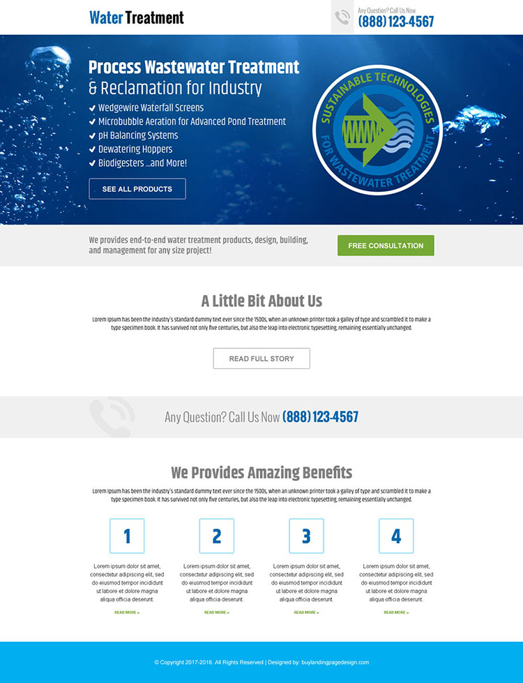 water treatment plants landing page design