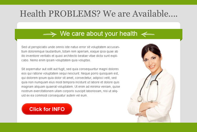 we care about your health converting ppv landing page design