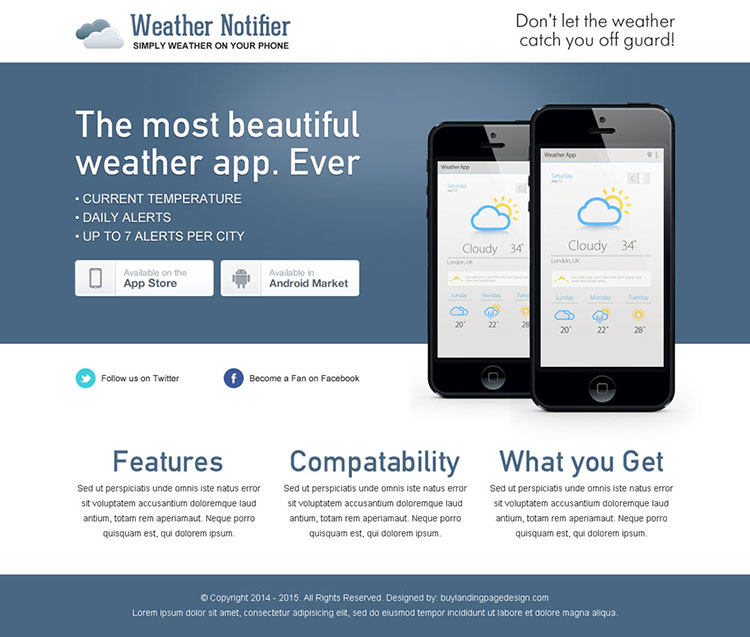 beautiful and clean weather notifier application page
