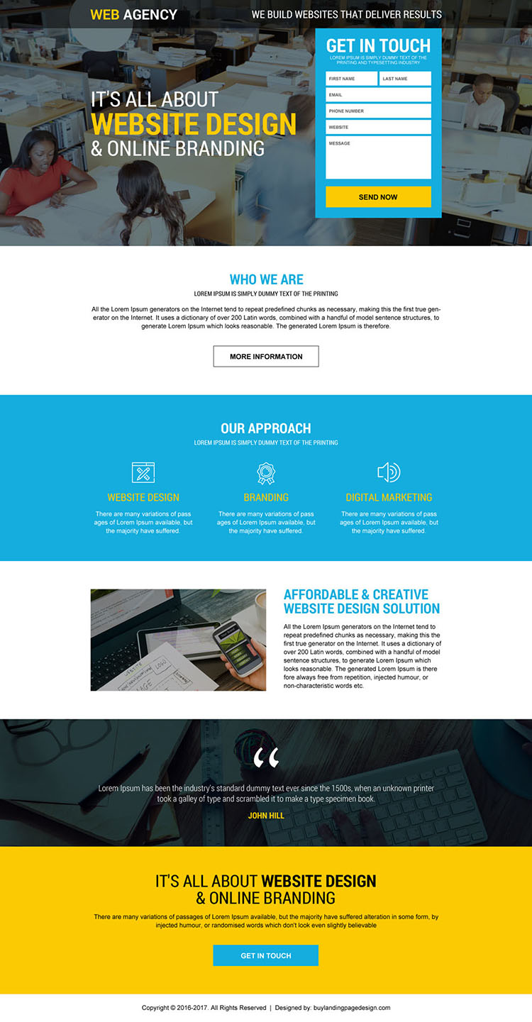 mobile friendly web design agency lead gen landing page