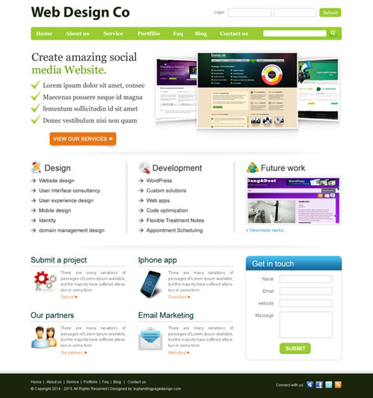 clean and professional web design company website template design psd