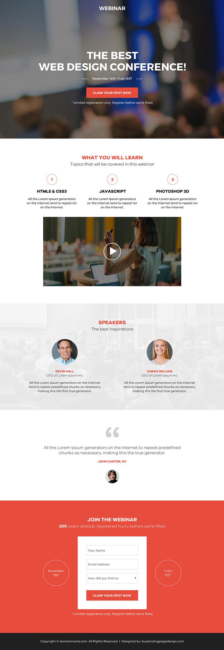 web design conference webinar landing page design