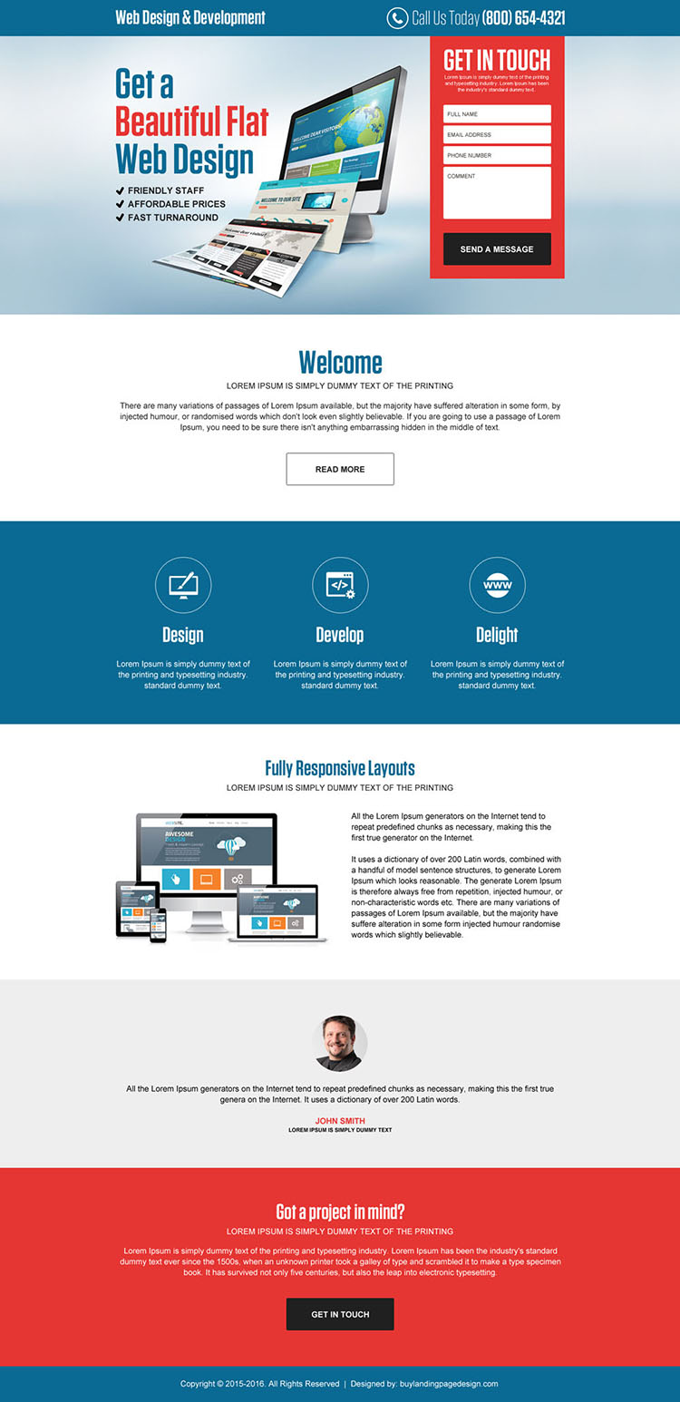 web design and development returning lead gen landing page