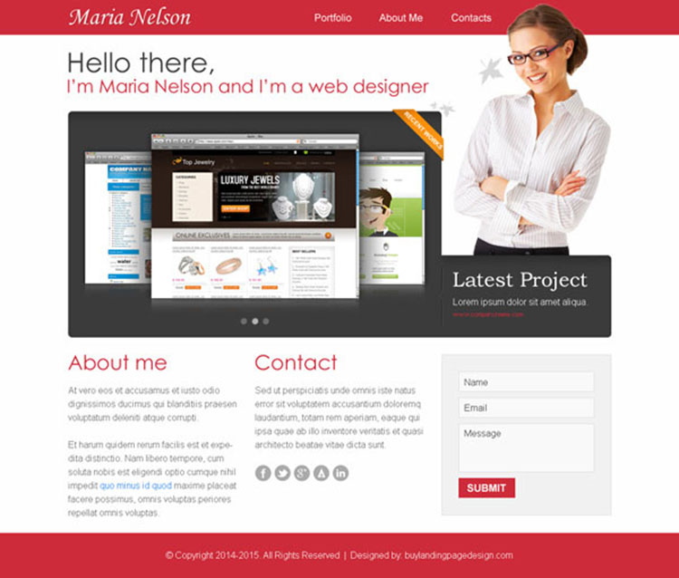 web designer personal portfolio website template design psd