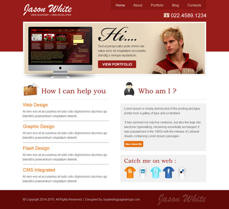 web developer personal converting call to action website template design psd