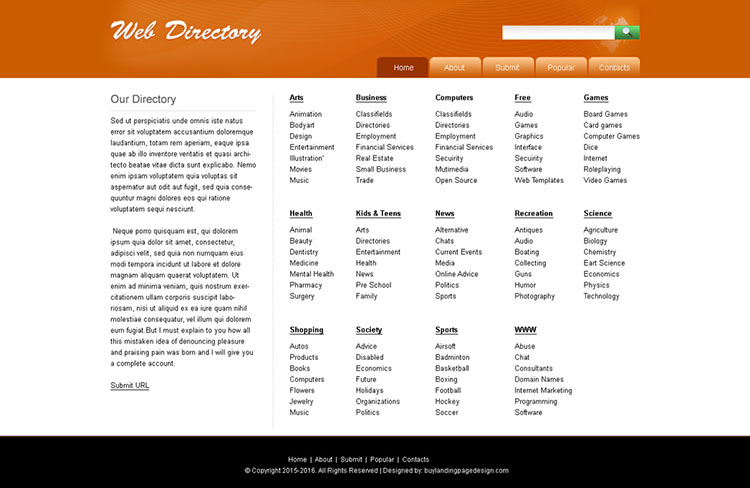 website directory template design psd for sale