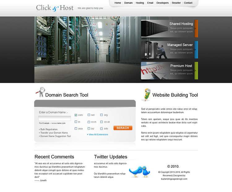 web hosting and domain selling website template design psd for sale