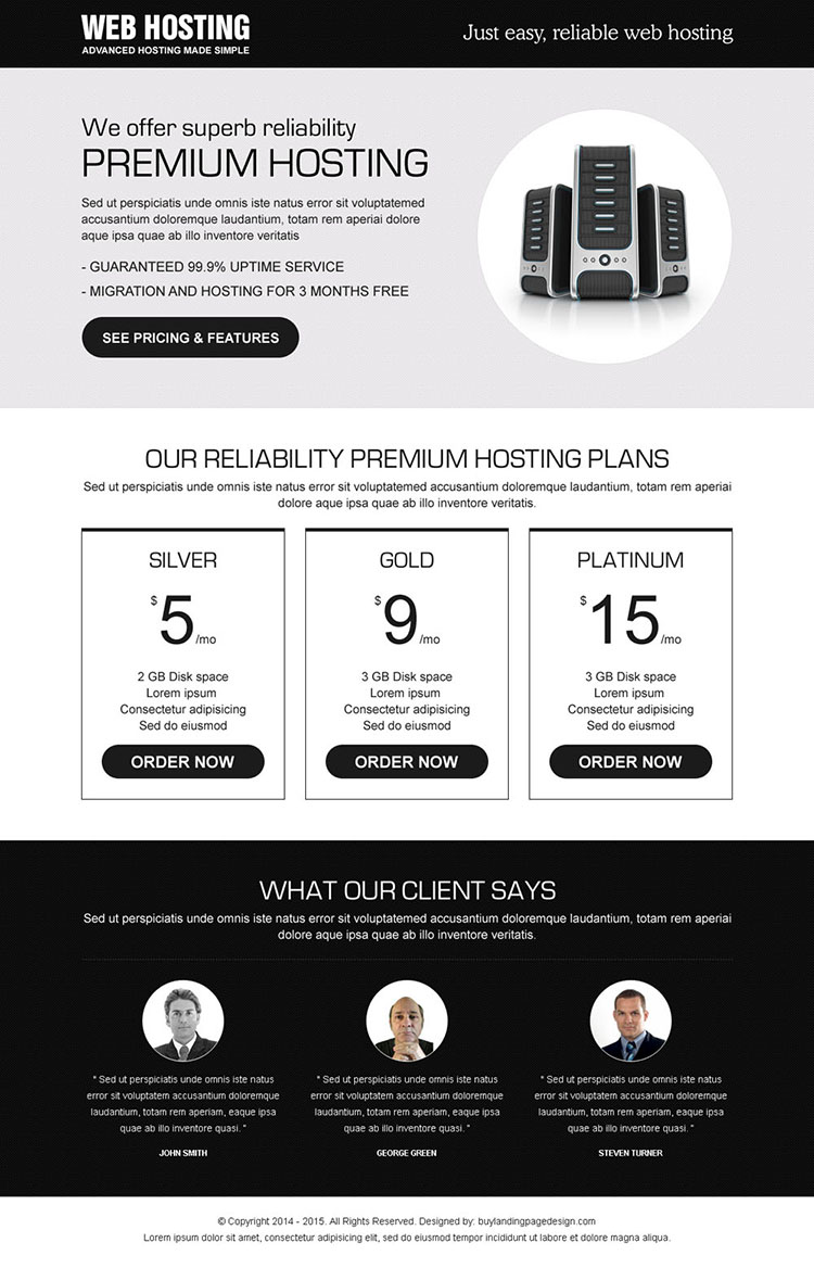 responsive reliable web hosting lander design