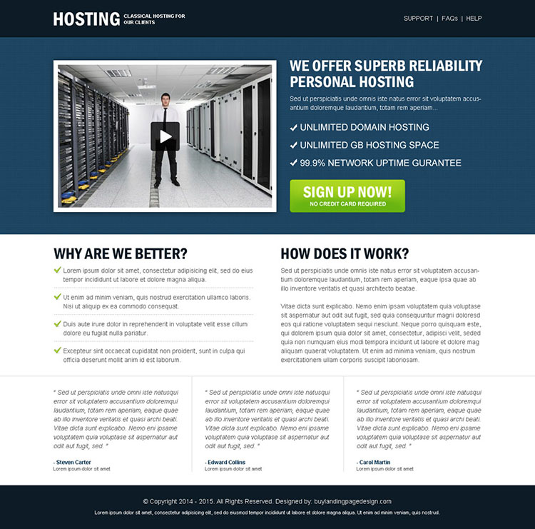 reliability personal hosting call to action clean and user friendly landing page design