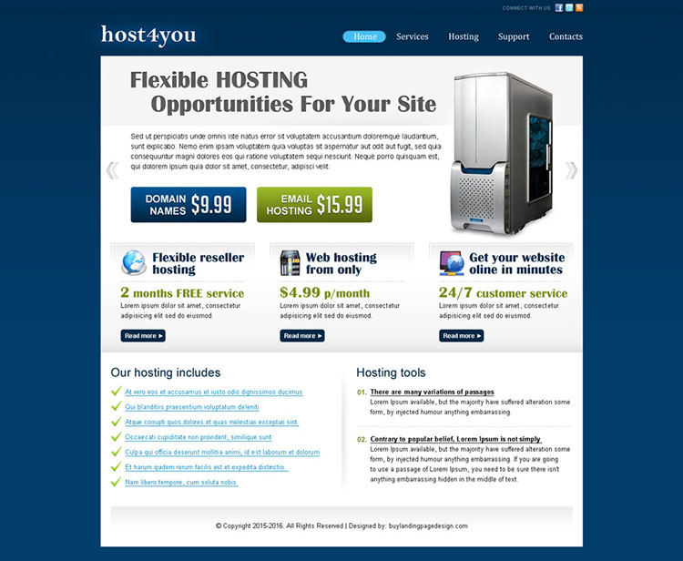 web hosting business website template design psd for sale