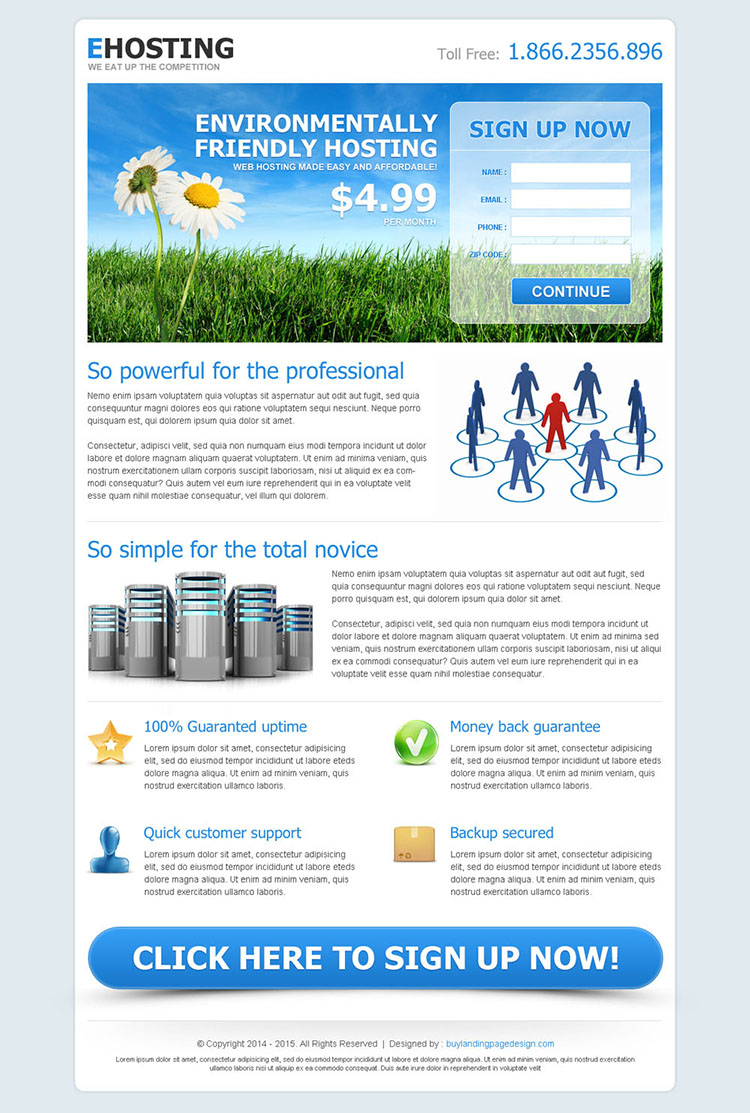 effective landing page design for web hosting