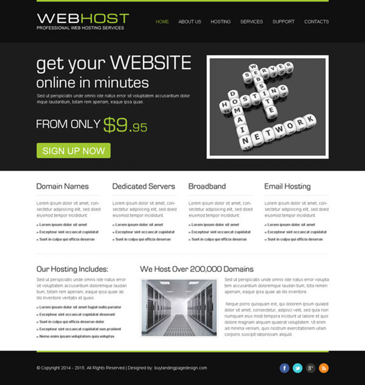 professional web hosting service website template psd