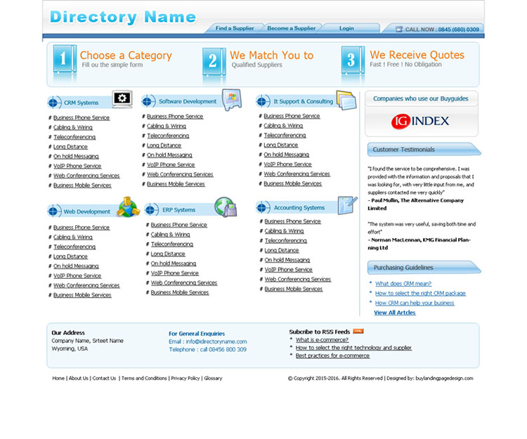 website directory website template design psd for sale