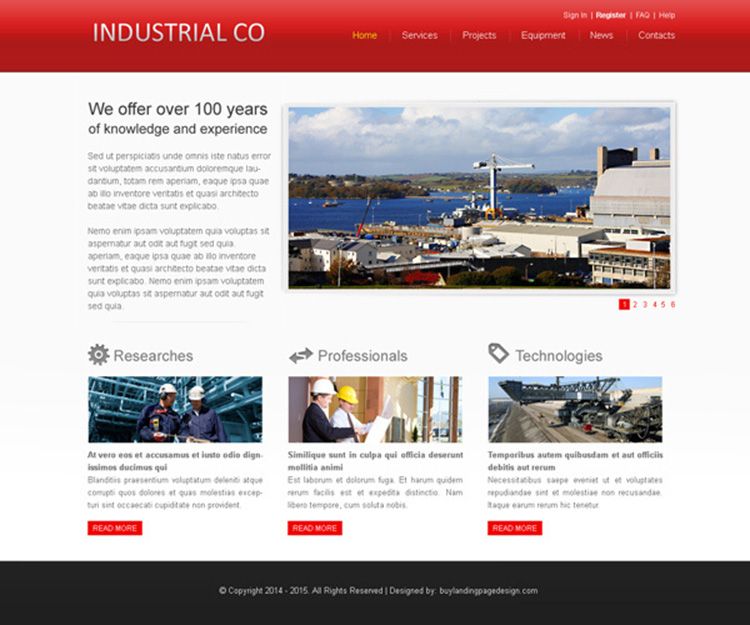 clean and appealing website template psd for industrial company website