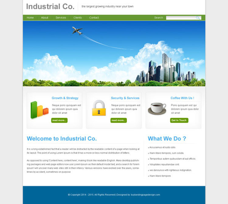 clean and professional website template psd for industry website