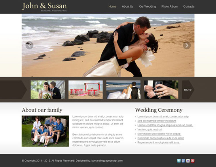 simple and effective website template for your weeding website
