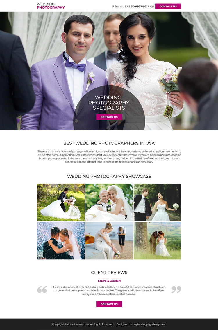 wedding photography mini landing page design