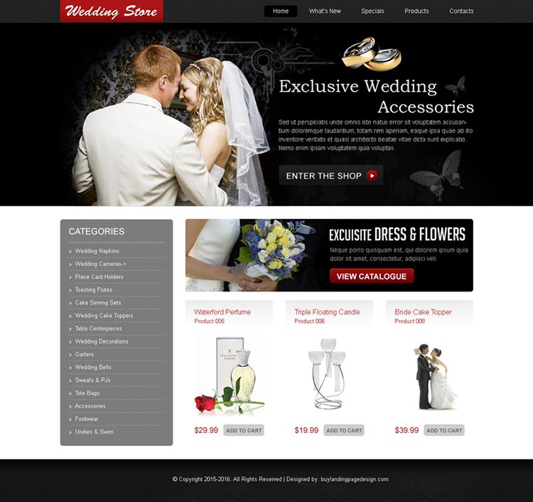 exclusive wedding accessories online store website template design psd