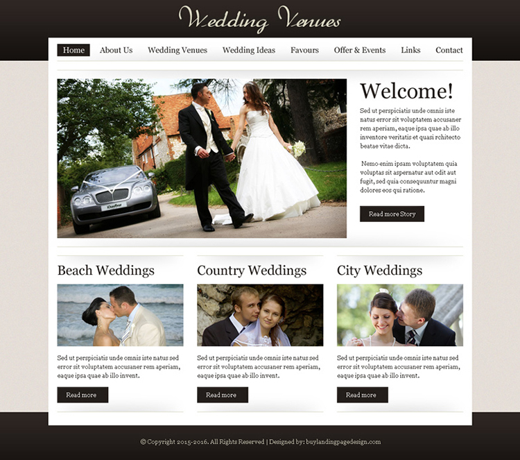 wedding venues website template design psd for sale