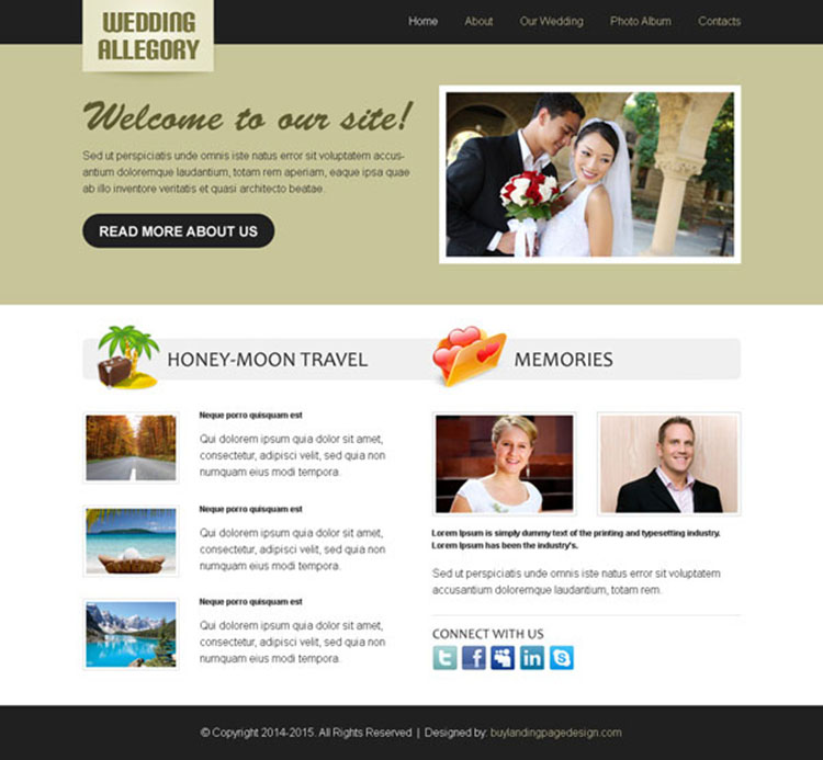 wedding clean and converting website template design psd
