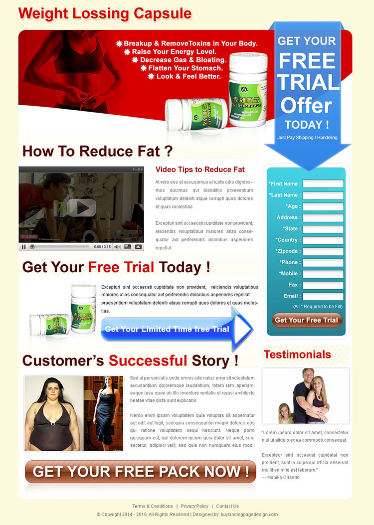weight losing capsule clean and converting long lead capture landing page for sale